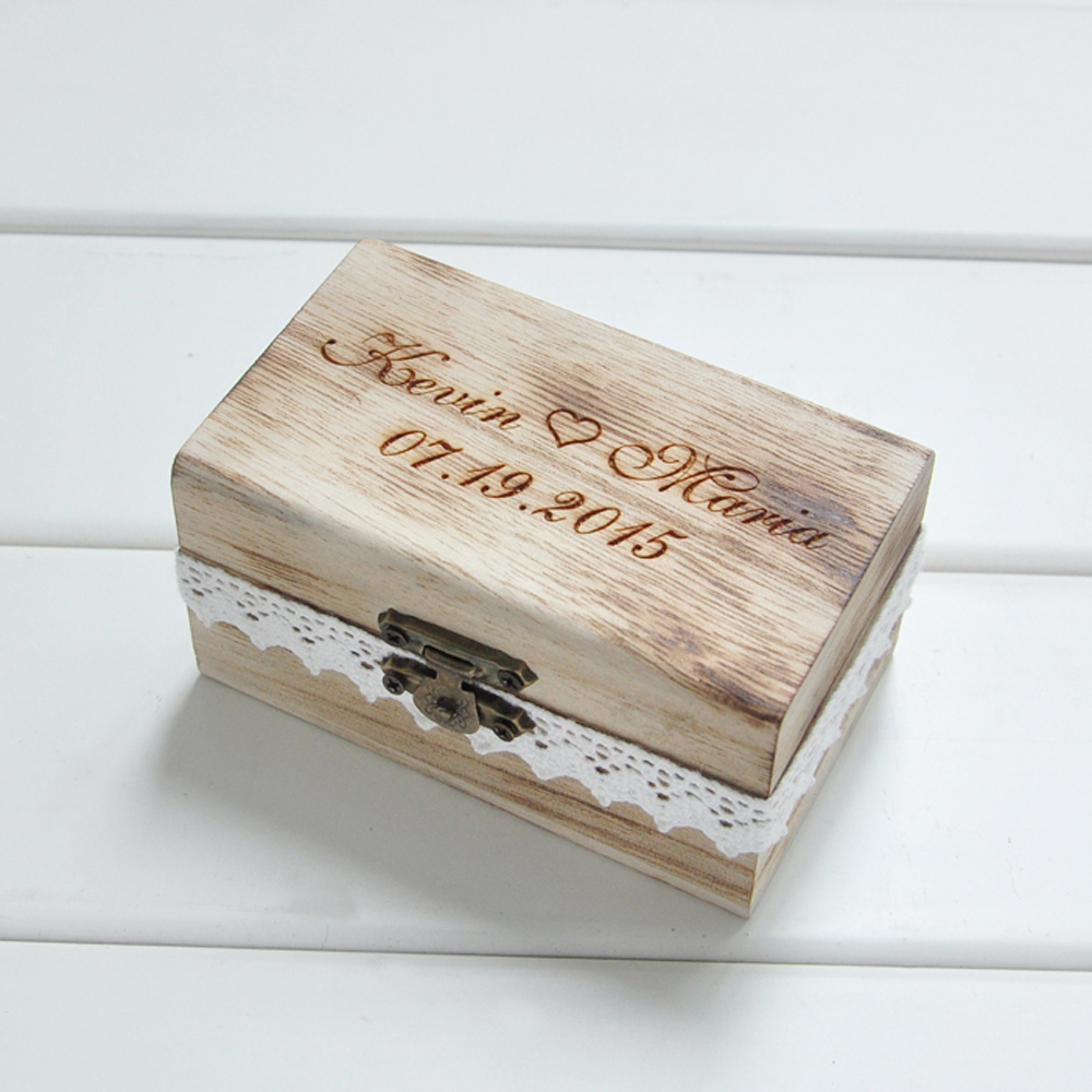 Personalized Gift Rustic Wedding Ring Bearer Box Wood Wedding Ring Box Custom Your Names and Date