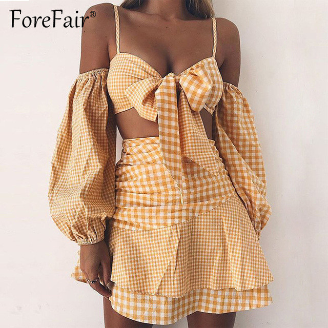 d3583b3f1568 Forefair Yellow Plaid 2 Piece Sets Women Sexy Off Shoulder Long Sleeve Tie  Bow Camis Tube Crop Top & Ruffles Short Skirt Suits