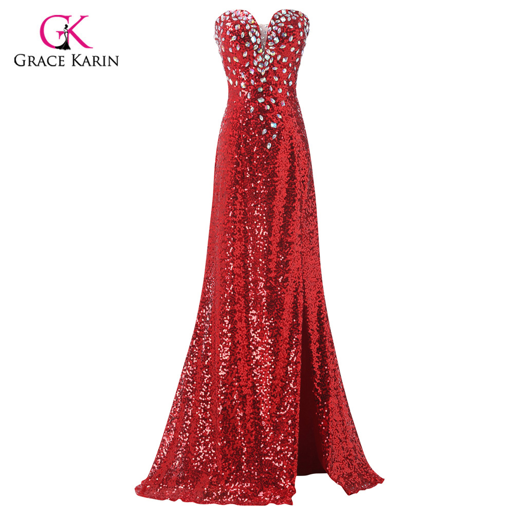 27cf50c403e1 Mermaid Evening Dress 2018 Grace Karin Sexy Red Sparkle Sequins Long Formal  Evening Gowns Party Dresses vestidos 6102