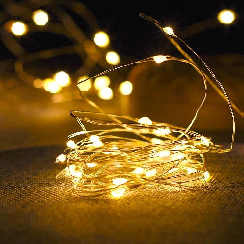 1-10 m alambre de cobre Cadena de luces LED luz nocturna iluminación de vacaciones para guirnalda Hada árbol de Navidad decoración de fiesta de boda