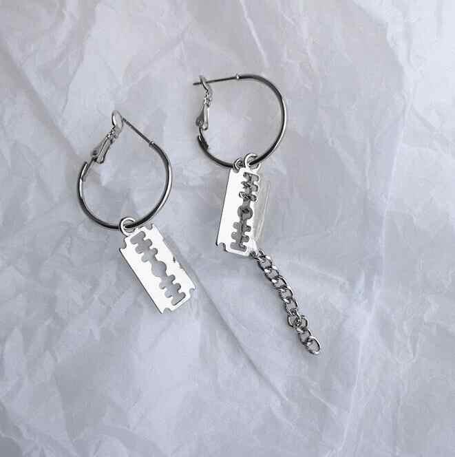 Ex651 Hot versão Coreana do punk liga cadeia de borla cadeia de lâmina estrela brincos jóias acessórios exagerados feminino minimalista