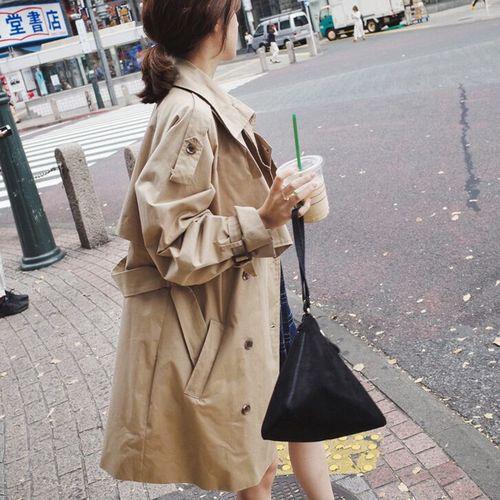 2018 De Windbreaker Mince Femmes Dame vent Coréenne Kaki Mode Lâche Version Khaki Coupe Printemps Femelle Automne Nouveau Tranchée 7Tqrz7