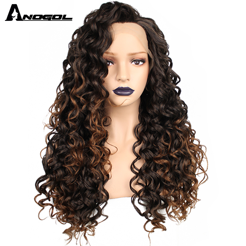 Anogol High Temperature Fiber Brazilian Hair Peruca Blonde Mix Black Long Kinky Curly Synthetic Lace Front