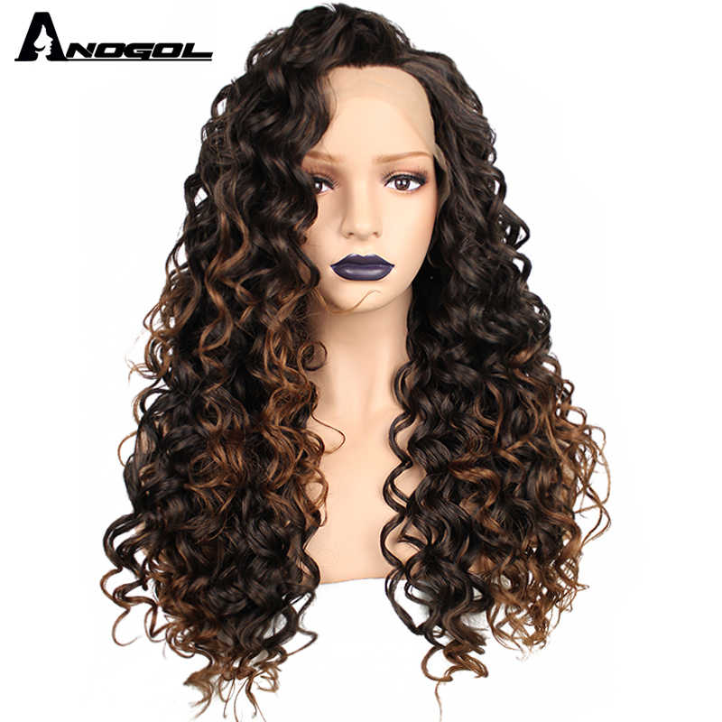 Anogol Serat Suhu Tinggi Brasil Rambut Peruca Rambut Pirang Mix Hitam Panjang Keriting Keriting Renda Sintetis Depan Wig untuk Afro Wanita