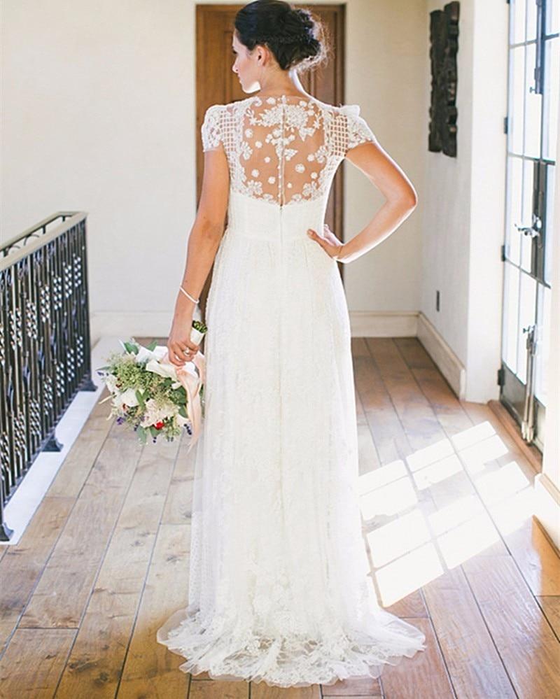 Vintage Boho Lace Beach Wedding Dress 2019 Elegant