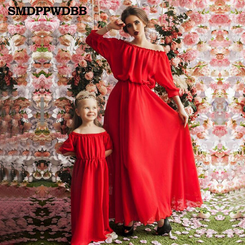 Maternity Women Mother Daughter Maxi Dress Family Matching Outfits Fashion Mommy And Me Long Dress Family Fitted