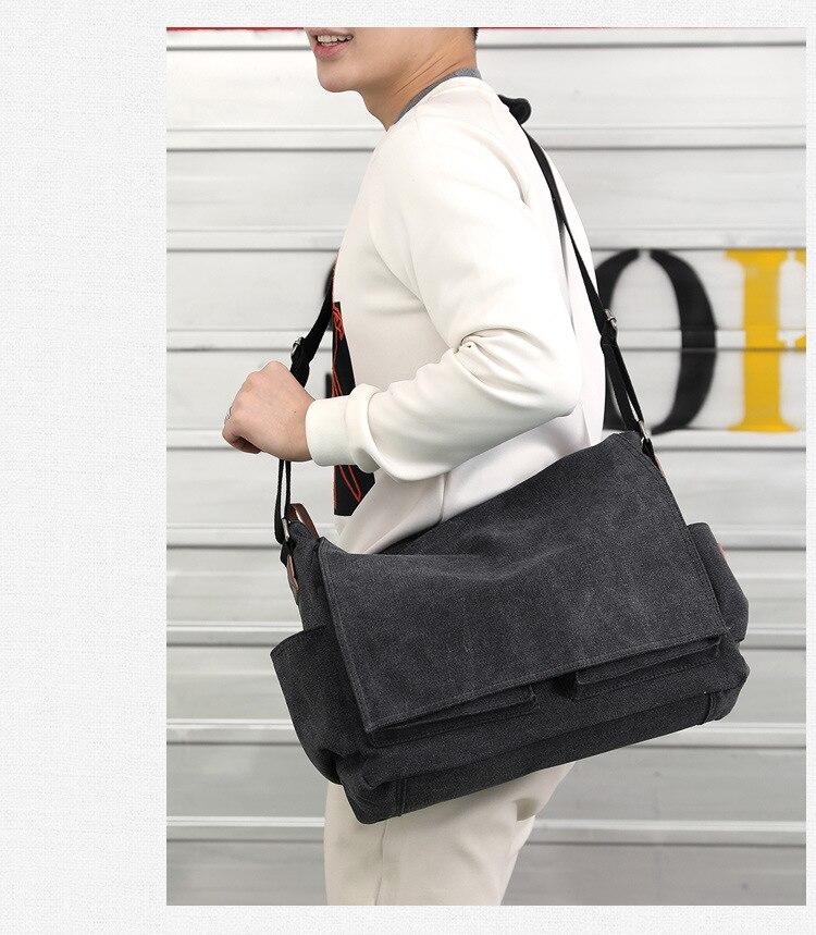 2019 Brand Designer Men's Briefcase Canvas Crossbody Bags for men 14 Inch Laptop Shoulder Bags Buisness Office Men Messenger Bag