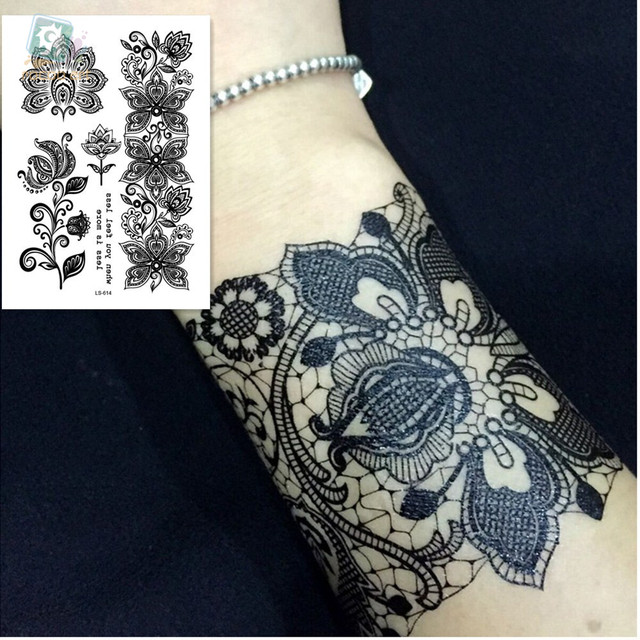 Ls 614moda Y Hermosa Alta Calidad Temporal Mandala Flor Tatuaje