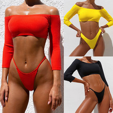 купить Hot Sale Women Long Sleeve Push-Up Bikini Set Brazilian Biquini Pure Color Bandage Swimwear New Two Pieces Swimsuit Bathing Suit по цене 1408.14 рублей