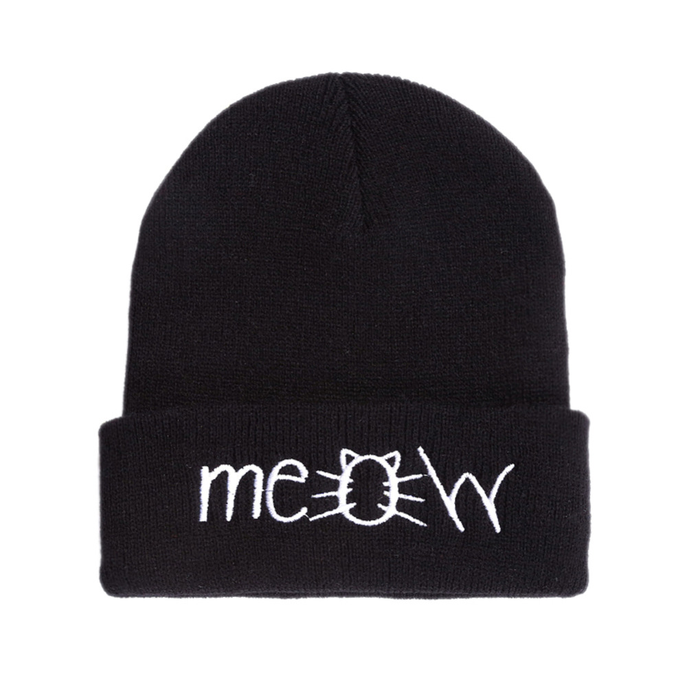 MEOW Cap Winter Casual Hip Hop Hats Knitted Wool Skullies Beanie Warm Hat for Women Drop Shipping Black/gray/red/navy mens summer cap thin beanie cool skullcap hip hop casual hat forbusite