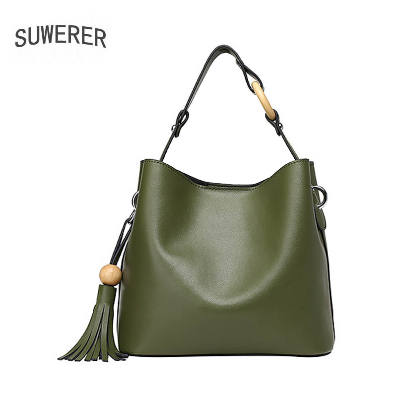 SUWERER 2019 New Women Genuine leather bag fashion Luxury Simple tassel handbags big capacity tote women leather shoulder bagSUWERER 2019 New Women Genuine leather bag fashion Luxury Simple tassel handbags big capacity tote women leather shoulder bag