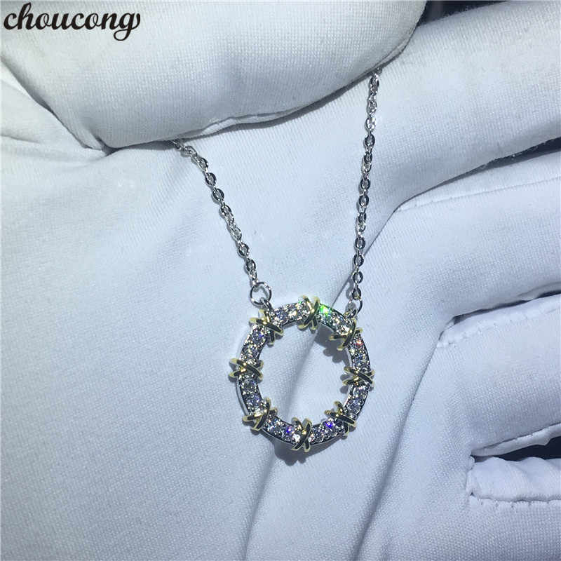 choucong Hollow Round Pendants 5A Zircon Cz Real 925 Sterling silver Wedding Pendant with Necklace for women Bridal jewelry