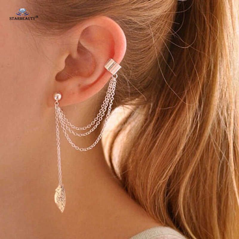 Starbeauty Long Tassel Earrings for Women Leaf Clip Alloy Fake Piercing Helix Piercing Ear Piercing Oreja Fake Earrings Cuff