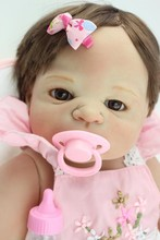 2016 New Arrival 58cm NPK Brand Baby Girl Doll In Pink Skirt Full Vinyl Silicone Reborn Babies Toys For Kids Brithday Brinquedos