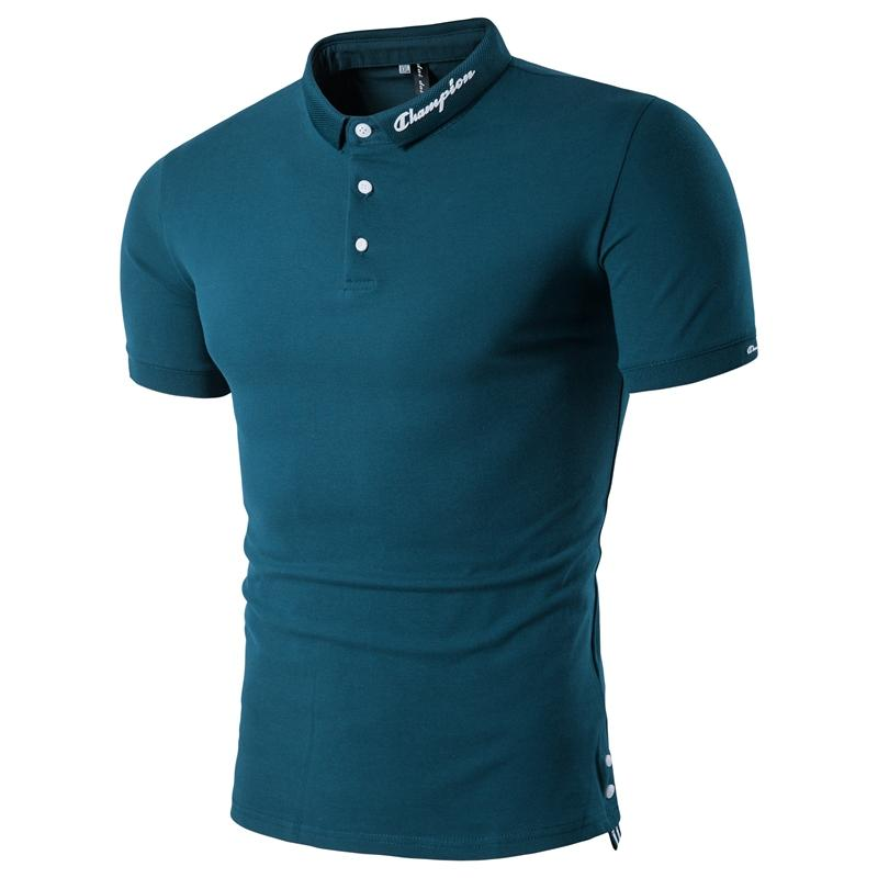 Male Polos Shirts Slim Fit Tops Tees Men Clothes 2019 Polo Shirt Men Short Sleeve Black White Blue in Polo from Men 39 s Clothing