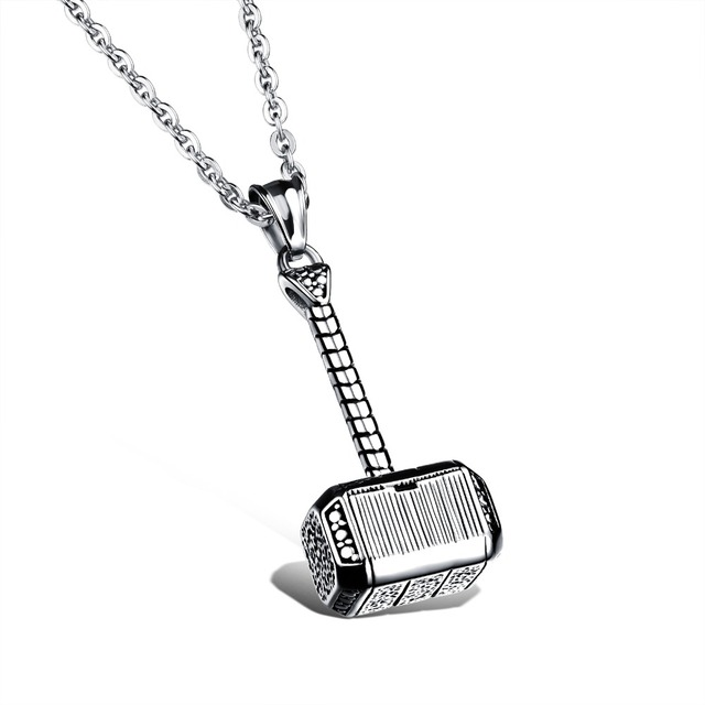 Necklace pendants mens all collections of necklace 316l stainless steel men necklace thor hammer fashion pendant mozeypictures Images