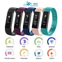 ID115 Smart Напульсники браслет IP67 Водонепроницаемый спортивные шаг мониторинга сердечного ритма классический SmartBand для человека женщин
