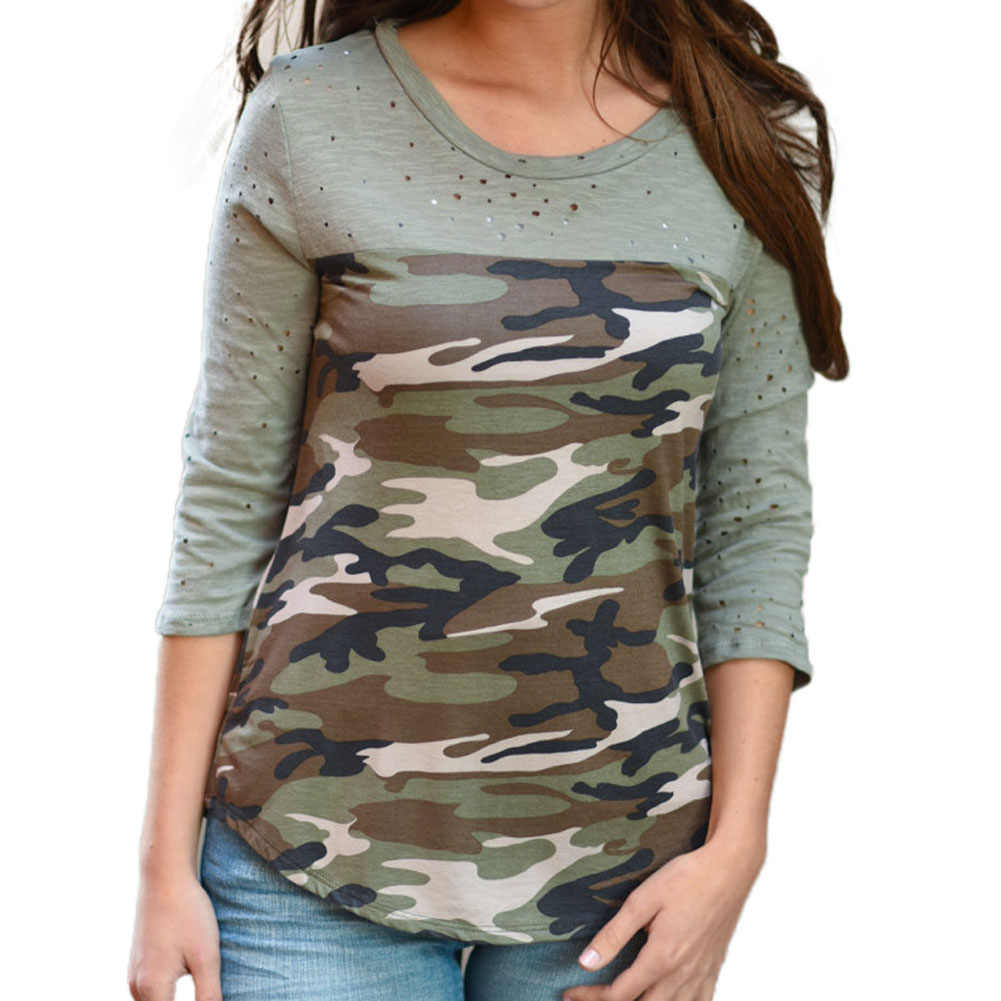 Women 2017 Ladies Women's Camouflage Army 34 Three Quarter Sleeve Tops Holes Stitching T-Shirts Casual Women T-Shirt