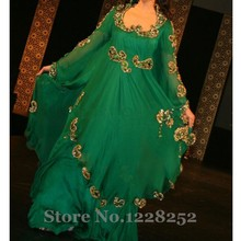 Pakistani Dubai Kaftan Evening Gown Long Sleeve Sequin Fancy Farasha Abaya jalabiya Islamic Green Evening Dresses Amazing Design