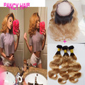ombre 360 Full lace frontal Closure with bundles Brazilian virgin Hair 1B/27 ombre blonde hair two tone frontal 8A grad