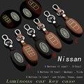 Keychain Del Coche de Cuero genuino Cubierta de La Caja Dominante para 2014 Nissan Tiida Qashqai X-trail Livina Sunny Sylphy Teana Coche Accesorios clave