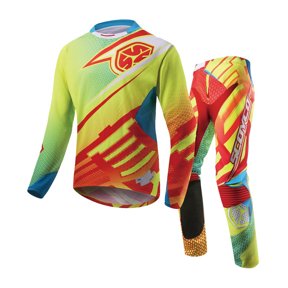 SCOYCO Professional Motocross Racing Jersey + Hip Pads Pants Sets Off-Road  Moto Gear Dirt Bike Riding MTB DH MX Clothing Suit