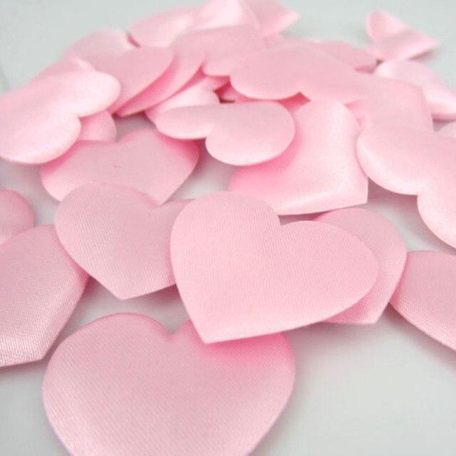 100 Pcs Rose Coeur Fleur Satin En Forme De Coeur Tissu Artificielle