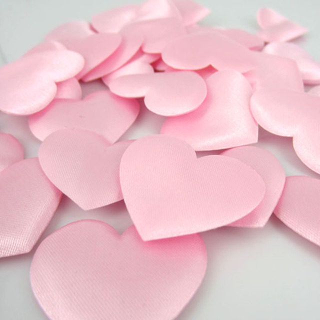 100pcs pink heart flower satin heart shaped fabric artificial flower 100pcs pink heart flower satin heart shaped fabric artificial flower petals applique craft wedding decorations 35 mightylinksfo