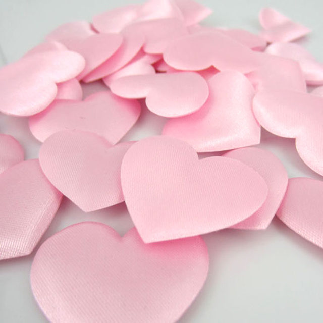 Online shop 100pcs pink heart flower satin heart shaped fabric 100pcs pink heart flower satin heart shaped fabric artificial flower petals applique craft wedding decorations 35cm mightylinksfo