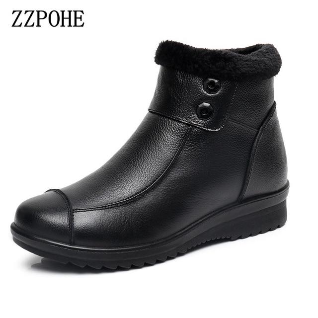 Zzpohe 2017 moda Blusas de mujer Cuero auténtico Botines mujeres calientes  zapatos de invierno de felpa 7a1ad559ad51