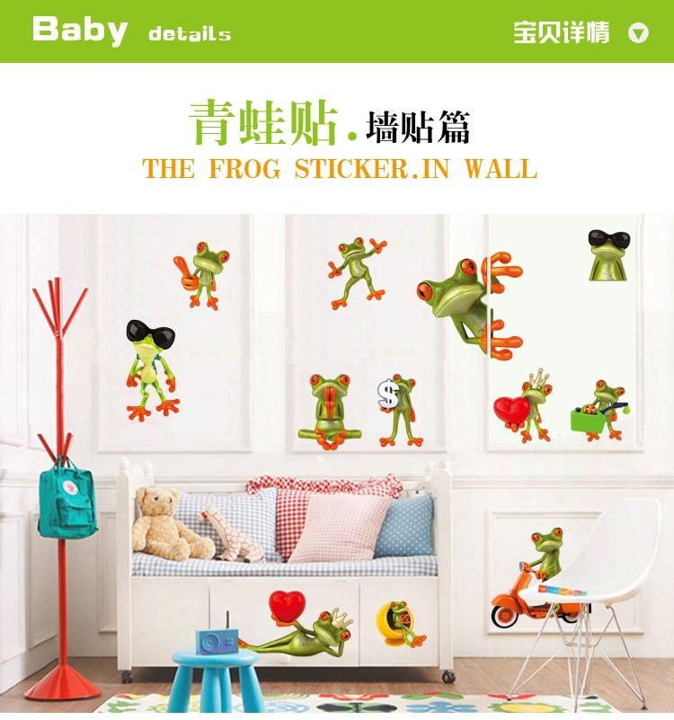 ୧ʕ ʔ୨12 Sztuk Szalony żaby Wymienny Naklejki ścienne