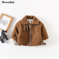 Ins Fashion Fur Baby Coat For Boys Girls Thicken Children Winter Warm Clothes Long Sleeve Kids Jacket Motorcycle Clothing Tops