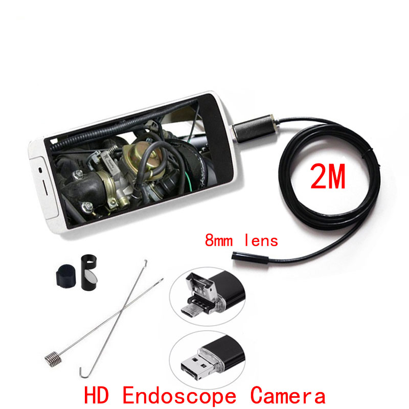 HD720P 2M PC Android Endoscope Camera 8mm Lens Endoscope Camera Waterproof Inspection Borescope Micro OTG USB Car Endoscope