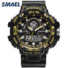 Big Men Watch Sport S Shock Resitant Sport zegarki saat cyfrowy zegar nowy zegarek wojskowy wodoodporny 50M 1557A mężczyźni wojskowa armia tanie tanio SMAEL 24cm Podwójny Wyświetlacz 5Bar Klamra CN (pochodzenie) Z tworzywa sztucznego 17mm Akrylowe Kwarcowe Zegarki Na Rękę