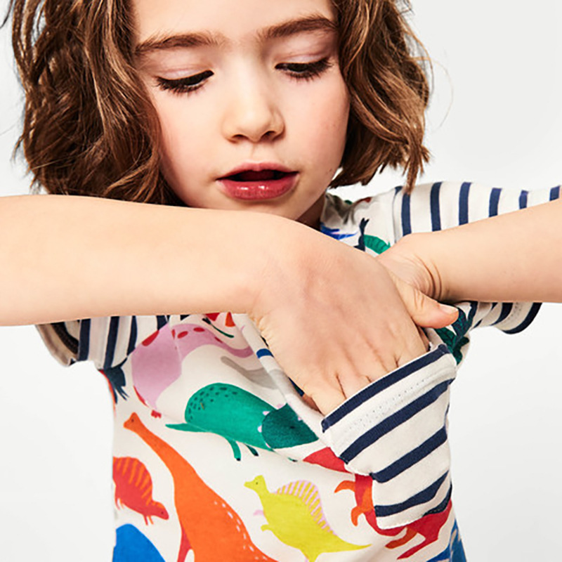 Girls Stitching-Sleeve Children's-Wear Dinosaur Print Striped Cotton Short