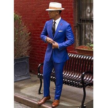 Classic Royal Blue Groom Tuxedos Cheap Slim Fit Notched Lapel 2016 Vintage Wedding Prom Men Suit ( jacket+Pants+tie)