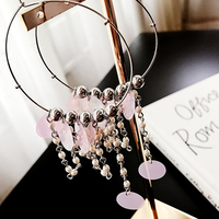 Doreen Box New Fashion Women Hoop Earrings Hollow Round Silver Color AB Color Sequins Metal Beads