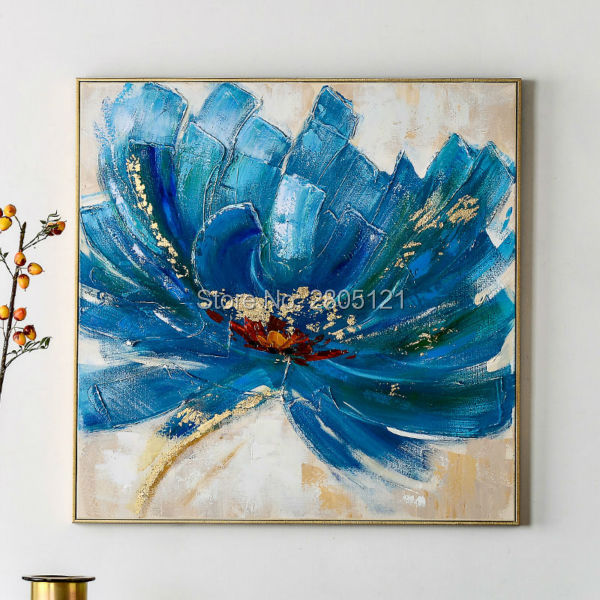 Aliexpress.com : Buy Hand painted floral Oil Painting On Canvas blue ...