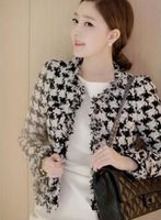 2019 Spring and Autumn New Temperament Commuter Houndstooth Jacket Tweed Fringe Plaid Short Jacket