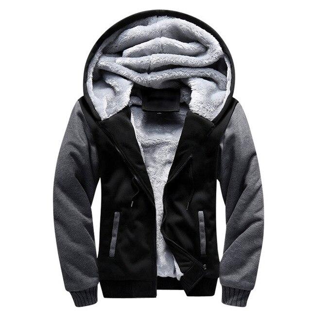 HTB1gWPIX6DuK1Rjy1zjq6zraFXaC Men Hooded Jacket 2019 Warm Causal Fleece Hooded Outerwear Coats Male Autumn Winter Solid Thick Zipper Jackets Casacos Masculino