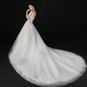 Wedding Dress  New Arrival Appliques Gelinlik  Embroidery Long Train Style Lace Strapless Princess Wedding Gowns