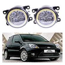 For FORD FIESTA Van Box  2003-2015 Angel eye LED fog lamp 9CM daytime running light Spotlight DRL OCB lens