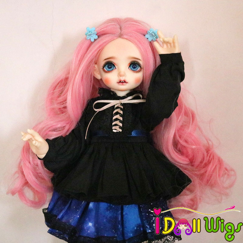 1/3 Bjd Rosa Girl Wig High Temperature Long Mint Green Pink Blended Spiral Curly Wavy Bjd Hair Wigs In Beauty Muziwig Goods Of Every Description Are Available