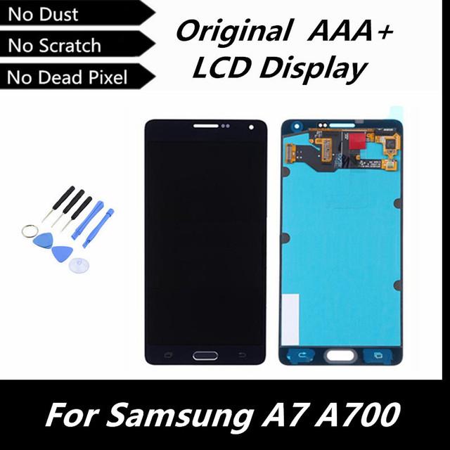 100% bom teste original display lcd de toque digitador assembléia para samsung galaxy a7 a700 a7000 blue color peças de reposição