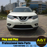 JGRT 2 PCS Chrome Front Grille Around Cover Trims For 2014 2015 2016 Nissan X Trail