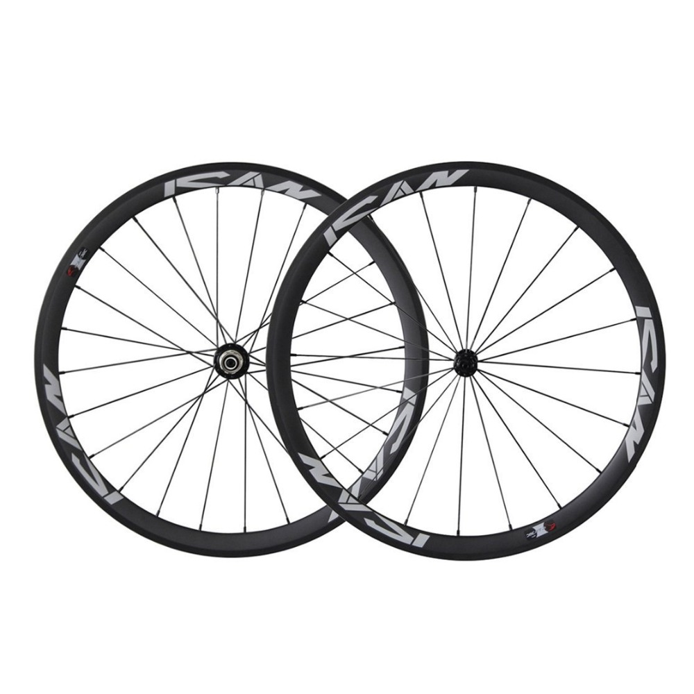 ICAN 38 millimetri Wheelset Del Carbonio Ruote per Bici Da Strada Da Corsa Copertoncino 20/24 Fori Rim 10/11 Velocità