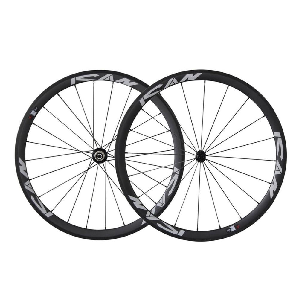 ICAN 38mm Wheelset Carbon for Road Bike Racing Clincher 20/24 Holes Rim 10/11 Speeds bike bicycle carbon wheel clincher rim for brompton super light 800g 16 38mm depth folding bike 3 12k wheelset 16 20 14 21 hole