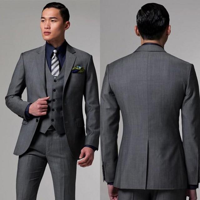 f7e9a7157e167 2017 Erkek koyu Gri Takım Elbise Ceket Pantolon Resmi Elbise Erkek Takım  Elbise Seti düğün takımları