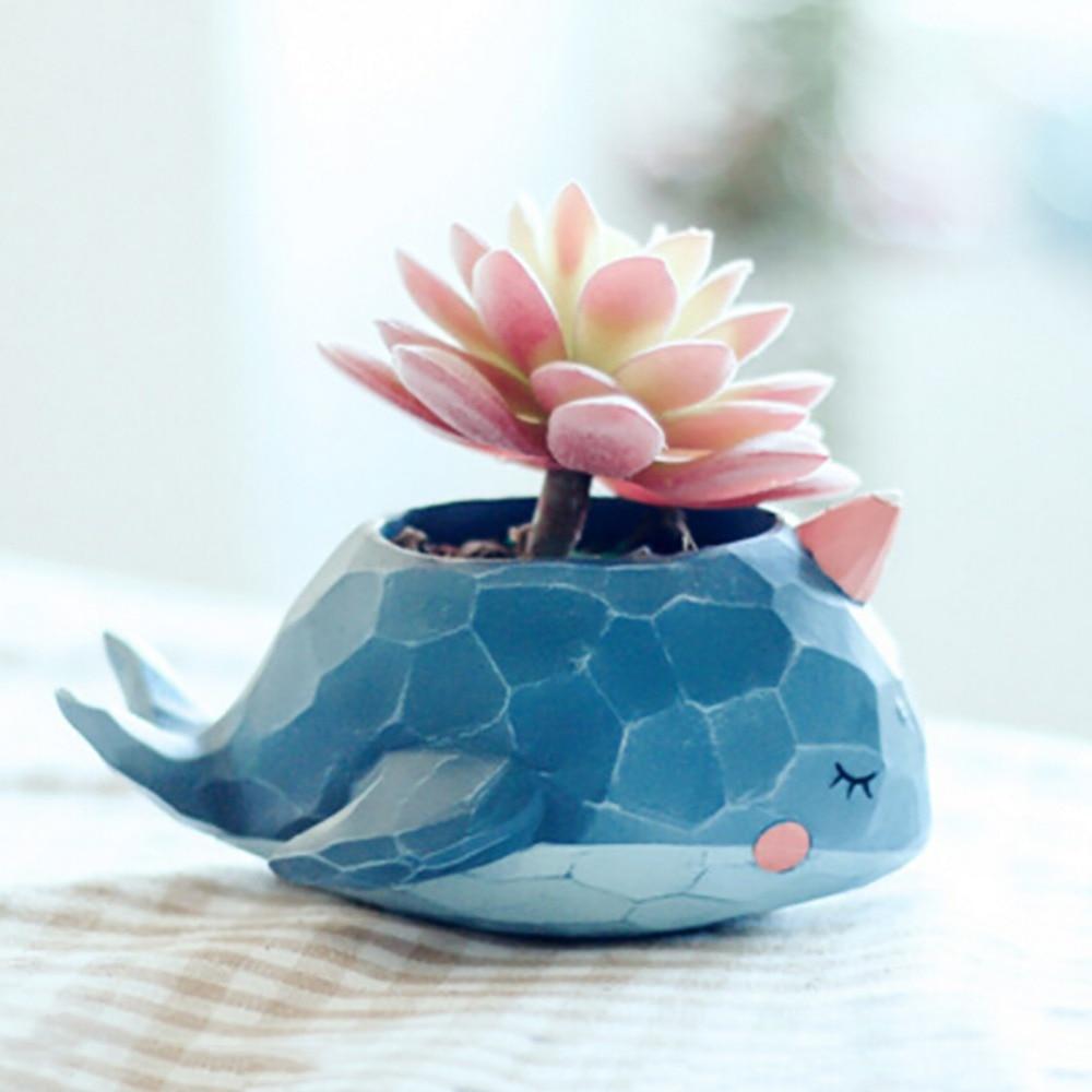 Crocodile Whale Cute Cartoon Resin Flower Pots Elephant Animals Succulent Plant Pots Bonsai Planter Home Office Lovely Decor
