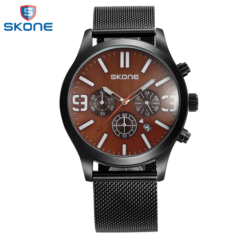 SKONE 3 Dials Dress Watch Men Brand Luxury Mens Calendar Quartz Wrist Watch Fashion Stainless Steel Mesh Watches Reloj Hombre migeer fashion man stainless steel analog quartz wrist watch men sports watches reloj de hombre 2017 20 gift